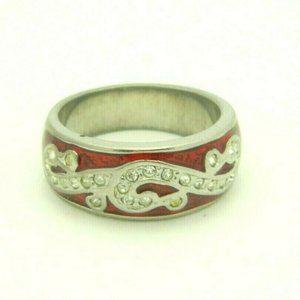 Red Enamel Clear Rhinestone Swirl Abstract Silver